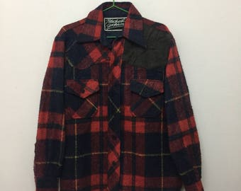 Vintage Wool Flannel Shirt/Red Blue Yellow/Size L