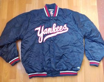 MLB Majestic New York Yankees jacket, blue vintage nylon bomber, baseball 90s hip-hop clothing, 1990s hip hop shirt, OG gangsta rap, size XL