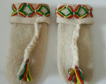 Vintage 1960s Winter White Wool Mittens Adult