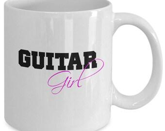 GUITAR GIRL Mug - Gift for Guitarists - Female Musicians - 11 oz white coffee tea cup