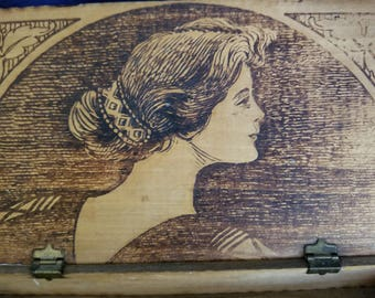 Early 1900's Pyrography Box With A Woman's Profile