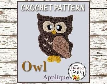 025 - Owl Applique Crochet PATTERN, Instant Download