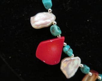 """""""ocean treasure"""" necklace with turquoise beads"""
