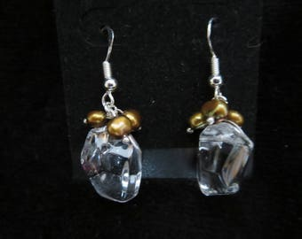 earrings with rock crystal beads