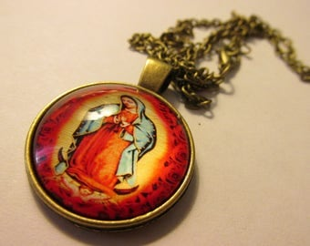 Bronze Metallic Glass Dome Charm-Pendant of Our Lady of Guadalupe,1""