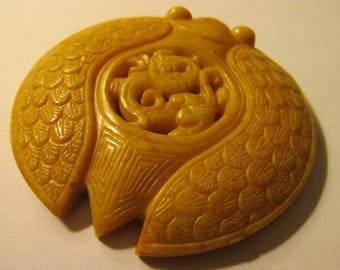 Honey Yellow Jade Stone Collectible Pendant-Amulet of Chinese Cicada and Mythical Dragon, 2 3/4""
