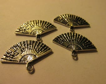 Silver Tone Metal Charms of Japanese Fan, 23mm, Set of 4