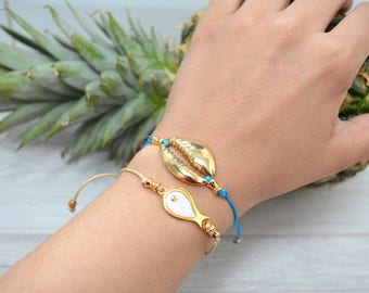 Gold evil eye lucky charm bracelet, Summer gold wrap macrame bracelet, summer gold good luck bracelet, Bohemian Summer good luck Jewelry