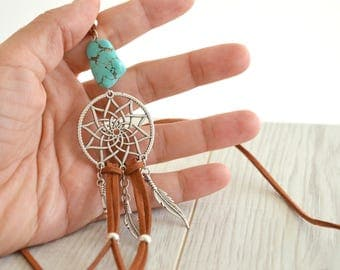 Dream Catcher Turquoise Stone & Feathers Necklace, Native American Navajo Southwestern Necklace Jewelry, Summer Turquoise Jewelry Necklace