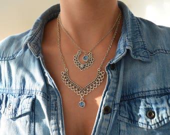 Silver Swarovski CHEVRON CHOKER Pendant Necklace, Swarovski Crystal Pendant Necklace, Chain Choker Necklace Jewelry, Rock Style Mother's Day
