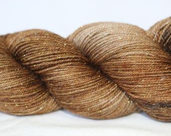 Hand Dyed Yarn - Superwash - Silver Stellina Sock Yarn - 84/16 Merino/Stellina - Tonal - 'Chocolate'