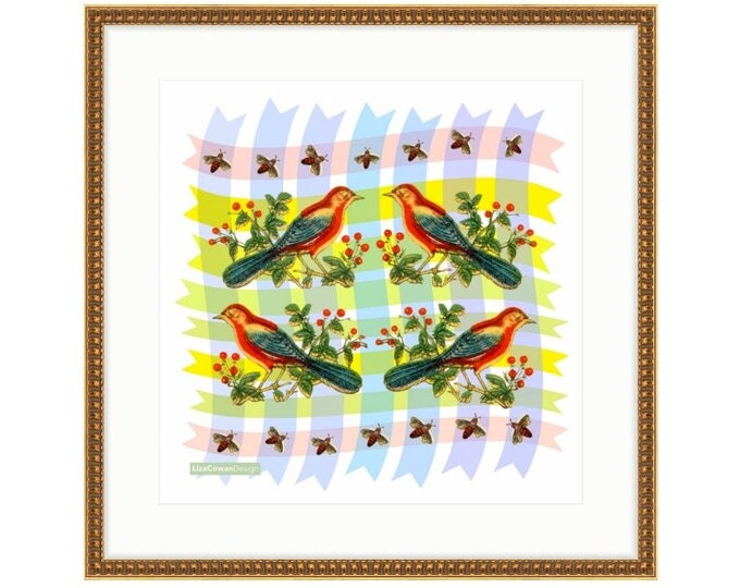 Red Bird Quartet. Printed and framed digital collage by Liza Cowan. 3 sizes and 2 frame choices available. FREE SHIPPING