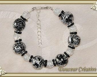 Bracelet black beads and silver 101028 foil