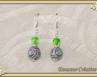 silver plated earrings multicolor beads 104064