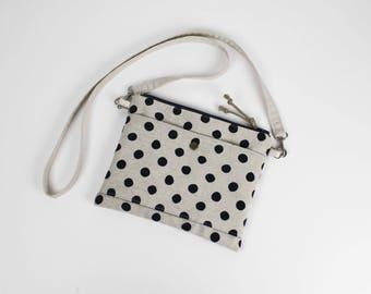 Bag shoulder linen with blue polka dots Navy