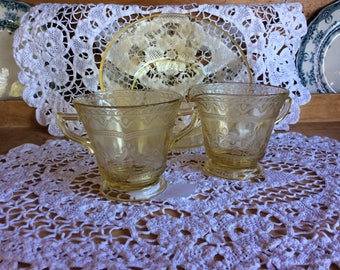 Antique Federal glass Patrician pattern yellow creamer sugar set Depression glass 1933