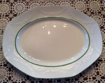 Antique J G Meakin ironstone oval serving plate dish with green line 1912 1938