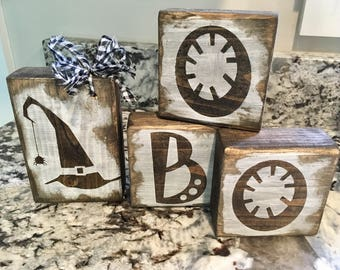 Rustic Halloween, Boo, Wood Blocks