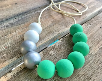 Tiffany green white and silver painted wooden bead necklace