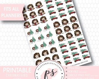 Cute Christmas Girls Decoration Icon Printable Planner Stickers | JPG/PDF/Silhouette Compatible Cut File