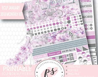 Cinderella January 2018 Monthly View Kit Printable Planner Stickers (for Erin Condren ECLP) | JPG/PDF/Silhouette Cut File