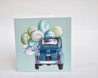 Greeting card Fiat 500