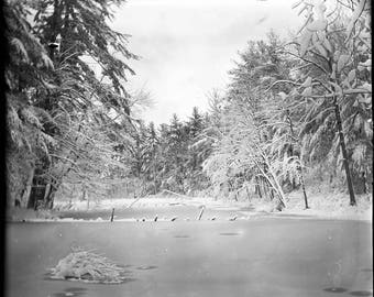 Frozen Pond.  Limited Edition.  Signed Black and White Print.  Printed in the Darkroom from my own Hand-Coated Dry Plate Negative.