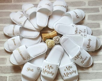 Bride Slippers, Wedding Slippers, Bridal Party Slippers, Bridesmaid Slippers, Maid of Honor Slippers, Spa Slippers, Hen Party Slippers