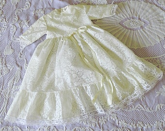 Infant baptism dress with petticoat white lace baby dress thulle baptism gown french girl baptism outfit Vintage 1960s