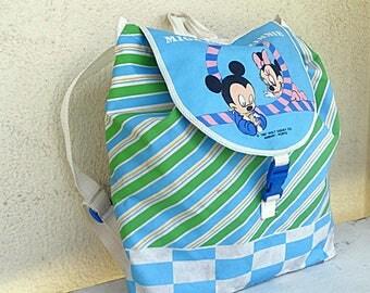 Disney Mikey and Minnie backpack lightweight waterproof little boys preschool rucksack retro drawstring back pack 1987 Ambar Vintage RARE