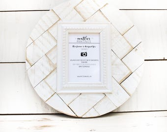 "4x6 Herringbone Picture Frame, (13"" circle), geometric wall art, rustic picture frame, wood frame, neutral white decor"