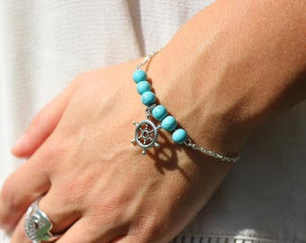 Bracelet turquoise charm beads gouvernailSaint Valentine, mother of the big day, Easter