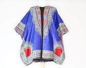 Blue Dashiki Kimono, Oversized Kimono, African Kimono, Ankara Kimono, Plus Size Clothing, Ankara Poncho, Blue Dashiki Top, Ankara Plus Size