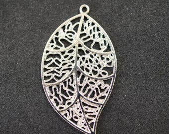 925 sterling silver leaf shape print