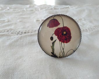 25mm glass cabochon silver ring, poppies