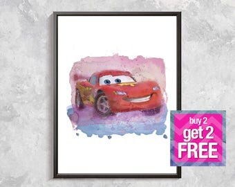 Lightning McQueen print, cars print, McQueen wall decor, McQueen art, McQueen car poster, McQueen watercolor digital download