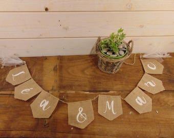 Guirlande en toile de jute à personnaliser pour décoration de mariage- Décoration de mariage en toile de jute par Pleasant Home