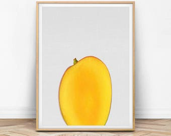 Mango Print, Fruit Art, Fruit Wall Print, Fruit Photo, Orange Print, Yellow Print, Kitchen Art, Kitchen Print, Photography, Food Art, F01