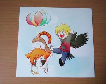 Up up and away! Print comic book original character digital artwork cute