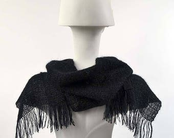 Handwoven black scarf in kidmohair and tencel. Kidmohair sheer scarf, woven by hand, black color.