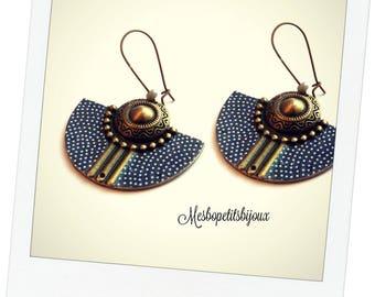 polka dots, half moon earrings