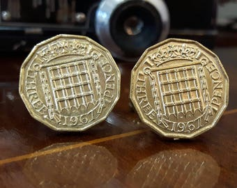 British Three Pence Coin Cufflinks