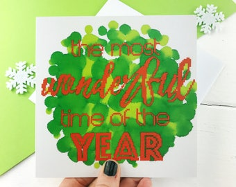 The Most Wonderful Time of the Year | Photographic Christmas Card, Holiday Card, Recycled Christmas Card, Typography Card, Wonderful Xmas