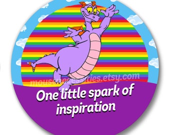 "Figment One Little Spark of Inspiration Inspired Disney Parks Celebration 3"" Pinback Button"