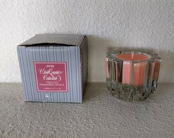 """SUMMER CLEARANCE: Vintage Avon Candle, """"Ultra Crystal Collection"""" Timeless Fragrance Candle, Pink, Scented, Crystal Holder, Votive, 1981"""