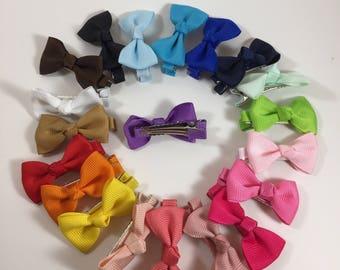 """Lot of 20 Hair bows, 1.77"""" hair bows, girl hair bow, baby hair bows, hair accessories, grosgrain ribbon clips"""