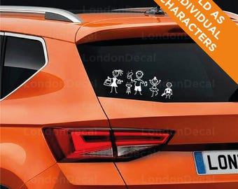 MY CAR STICK_FAMILY - Car Window Bumper Vinyl Decal Sticker, any colour