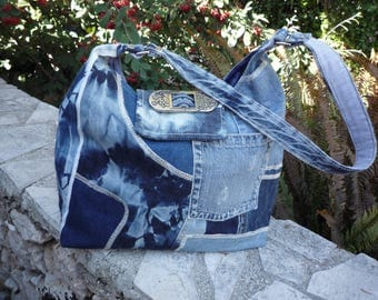 Tote bag jeans with flap shoulder patchwork shades of blue