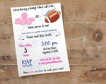 Tutus or Touchdowns Invite // Custom Gender Reveal Party Invitation // 4x6 or 5x7 // High Resolution Digital Download JPEG & PDF