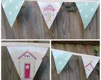 Outdoor bunting, 3m, oilcloth bunting, garden bunting, beach hut bunting, beach bunting, outdoor banner, oilcloth banner
